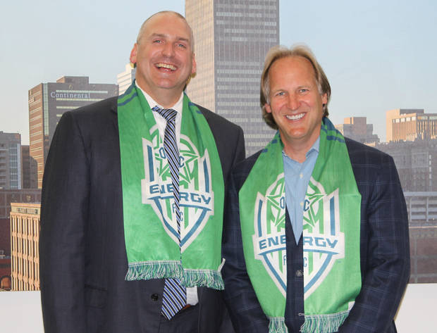 Bob Funk Jr. and Tim McLaughlin talk about the future of soccer in OKC. Photo Michaela Marx Wheatley