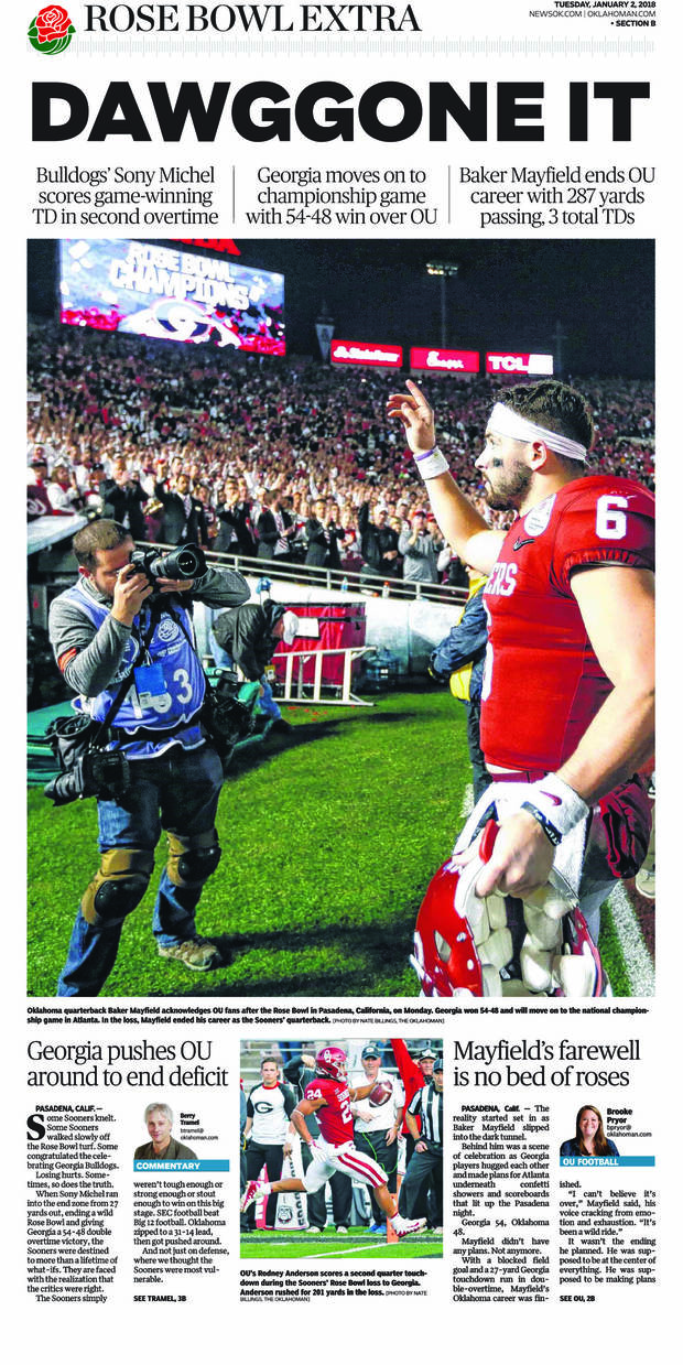 62d30fdee Jan. 2 (date of publication)  Georgia outlasted Oklahoma 54-48 in an epic Rose  Bowl to end the Sooners  hopes for a national title in Lincoln Riley s  first ...