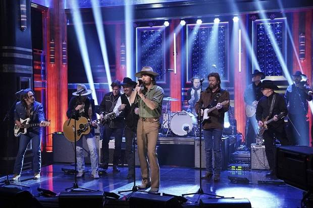 "Musical guests Brooks & Dunn with Midland perform on ""The Tonight Show Starring Jimmy Fallon"" April 9, 2019. [Photo by Andrew Lipovsky/NBC]"