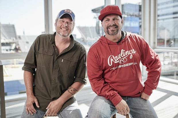 Watch: Garth Brooks and Blake Shelton give a rollicking performance with 'Dive Bar' live music video