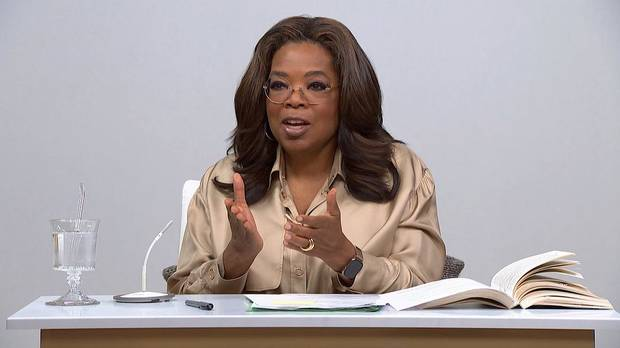 "Oprah Winfrey talks about the book ""Caste: The Origins of Our Discontents"" on a new two-part episode of ""The Oprah Conversation."" [Apple TV+ photo]"
