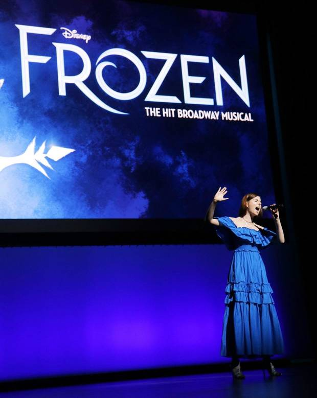 "Charissa Hogeland from the Broadway cast of Disney's ""Frozen"" sings ""Let It Go"" at an event where OKC Broadway unveiled its 2020-2021 season at the Civic Center Music Hall, Monday, January 27, 2019. [Photo by Doug Hoke/The Oklahoman]"