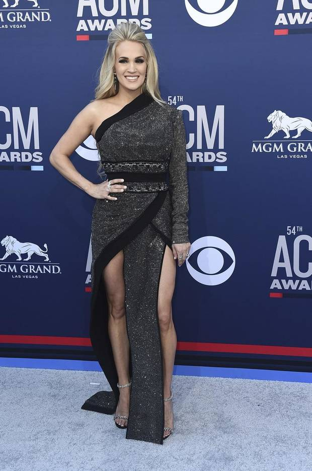 Carrie Underwood arrives at the 54th annual Academy of Country Music Awards at the MGM Grand Garden Arena on Sunday, April 7, 2019, in Las Vegas. (Photo by Jordan Strauss/Invision/AP)