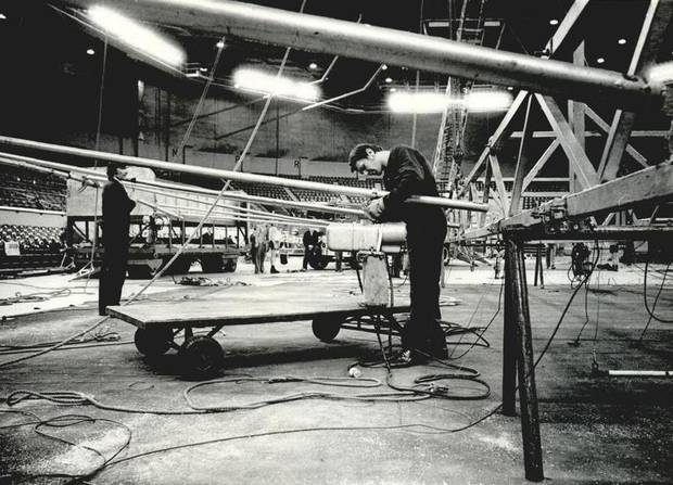 June 22, 1978: A workman rigs equipment before the opening of Ringling Bros. and Barnum & Bailey Circus. [Photo by Jim Argo, The Oklahoman Archives]