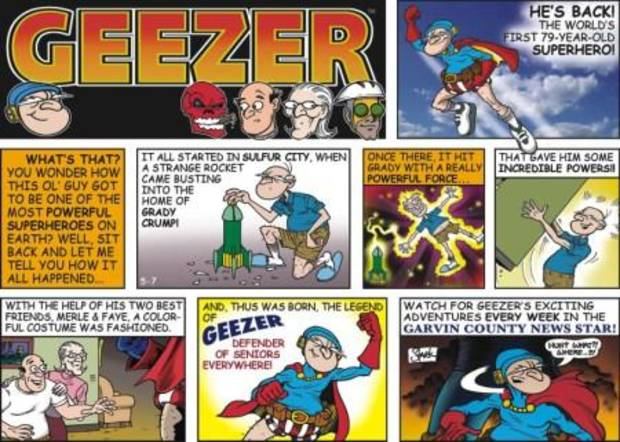 An example of the Geezer comic strip by Kevin Stark.