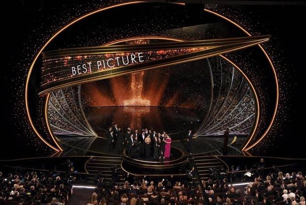 "The cast and crew of ""Parasite"" accept the award for best picture at the Oscars on Sunday, Feb. 9, 2020, at the Dolby Theatre in Los Angeles. [AP Photo/Chris Pizzello]"