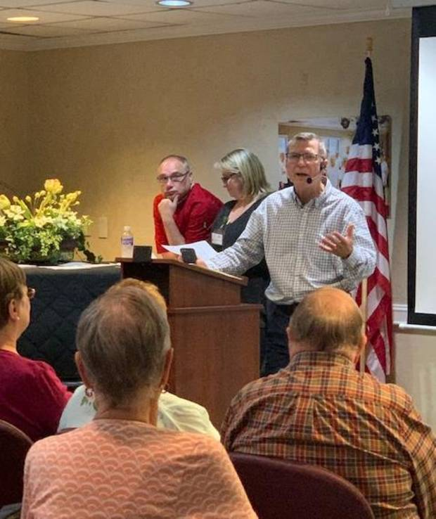 Spanish Cove CEO Don Blose addresses residents. [PHOTO PROVIDED]