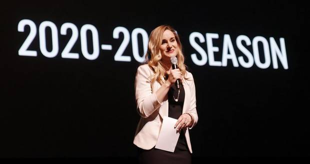 Elizabeth Gray, general manager of OKC Broadway and executive director of the Civic Center Foundation, unveils the OKC Broadway 2020-2021 season at the Civic Center Music Hall, Monday, January 27, 2019. [Photo by Doug Hoke/The Oklahoman]