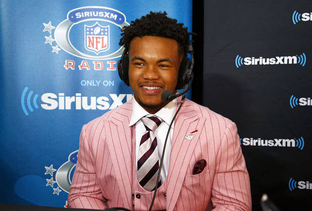 Kyler Murray does a radio interview after being selected overall No. 1 in the NFL Draft. (AP Photo)