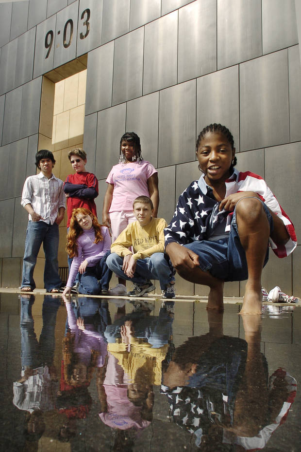 Christopher Nguyen, Brandon and Rebecca Denny, Nekia McCloud, Joe Webber and P. J. Allen were survivors of the America's Kids day care facility destroyed in the bombing of the Alfred P. Murrah Federal Building on April 19, 1995 in Oklahoma City, Okla. The survivors are reunited on Saturday, April 9, 2005, at the Memorial. Photo by Steve Sisney/The Oklahoman