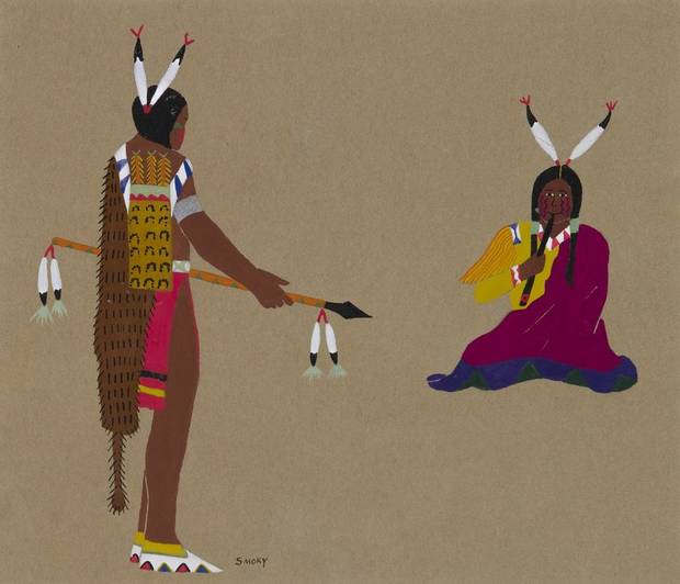 "Lois Smoky's (Bou-ge-tah) (U.S., Kiowa, 1907–1981) ""Courtship"" is included in the exhibition ""Kiowa Agency: Stories of the Six,"" on view at the Fred Jones Jr. Museum of Art at the University of Oklahoma. [Image provided]"
