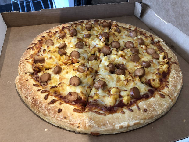 The Oklahoma City Dodgers' new Mac & Cheese Pizza will be offered all season. [Photo by Jacob Unruh/The Oklahoman]