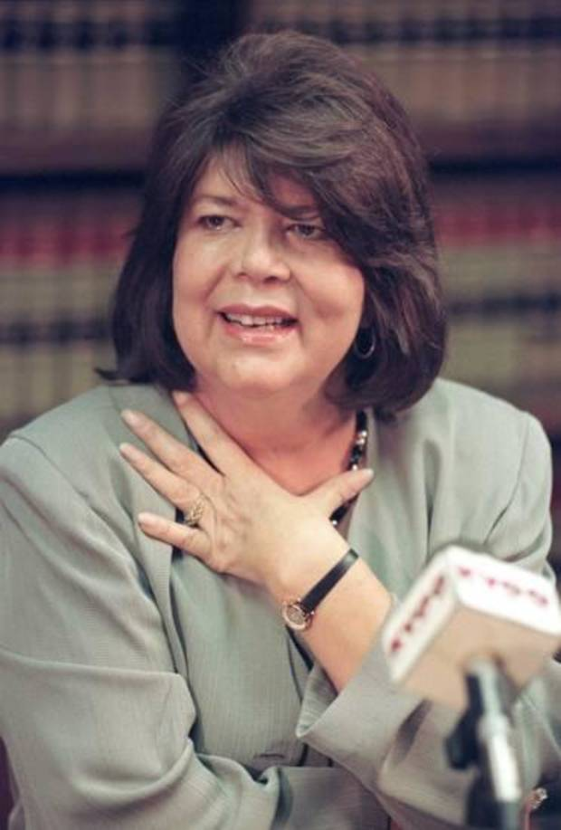 In this Sept. 19, 1996 file photo, Wilma Mankiller, former principal chief of the Cherokee Nation, gestures during a news conference, in Tulsa, Okla. AP file photo