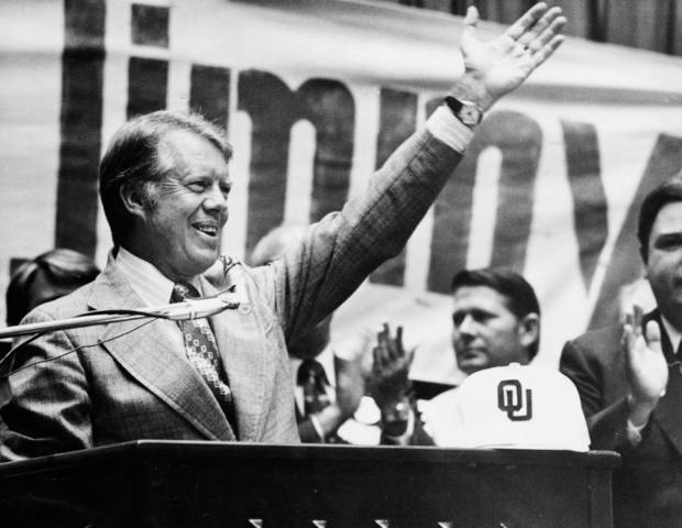 Eventual President Jimmy Carter visited OU's campus during his 1976 campaign.