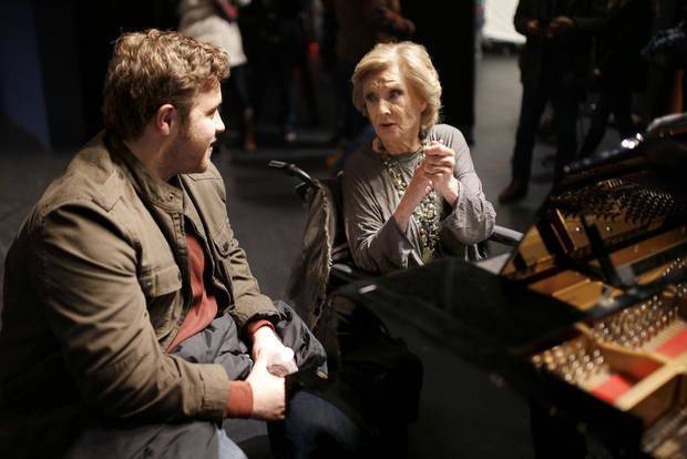 "Cloris Leachman talks with J. Micheal Finley on the set of the film ""I Can Only Imagine"" at the Oklahoma City Civic Center, Thursday, Jan. 12, 2017. [Photo by Sarah Phipps/The Oklahoman Archives]"