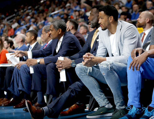 Oklahoma City's Andre Roberson (21) watches game action during the NBA basketball game between the Oklahoma City Thunder and the Memphis Grizzlies at the Chesapeake Energy Arena, Sunday, March 3, 2019. Photo by Sarah Phipps, The Oklahoman