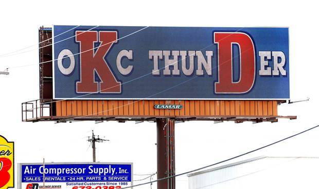 The message flashed across this electronic billboard near Grand Blvd. and S. Interstate 35 frontage road promotes Kevin Durant as a major part of the OKC Thunder team, as the campaign to convince Durant to remain as a player on the local NBA team has begun in Oklahoma City. (Photo by Jim Beckel, The Oklahoman)