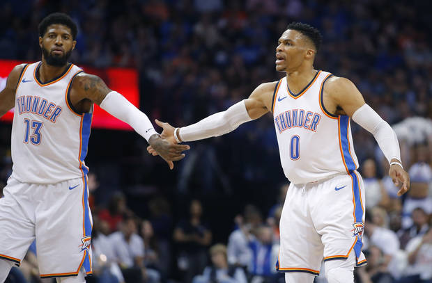 Russell Westbrook and Paul George are among the top-ranked players in the NBA entering this season according to Sports Illustrated. Photo by Bryan Terry, The Oklahoman