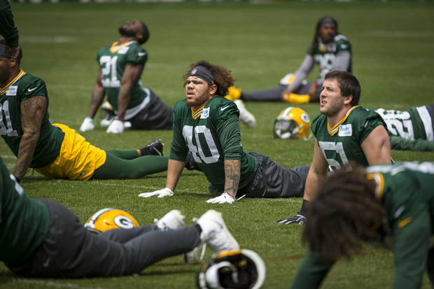 Green Bay Packers Curtis Bolton during NFL football OTA practice Tuesday May 21, 2019 in Green Bay, Wis.. (AP Photo/Mike Roemer)