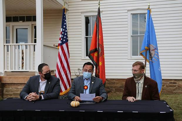 The Cherokee Nation announced today plans to purchase the historic Will Rogers Birthplace Museum in Rogers County. A small signing ceremony took place at the museum today to coincide with Will Rogers' birthday and formalize the acquisition from the Oklahoma Historical Society. [Photo provided]