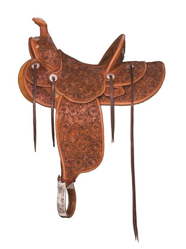"""Saddle for the Women Who Rode Wild Horses,"" by John Willemsma, is featured in the Traditional Cowboy Arts Exhibition & Sale 2019 at the National Cowboy & Western Heritage Museum. [Photo provided]"