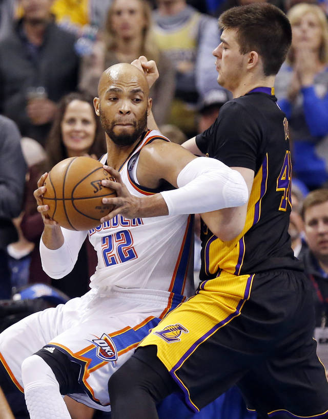 Taj Gibson, left, helped make the Thunder starting lineup one of the NBA's best after he joined the team in a trade with the Chicago Bulls. [PHOTO BY NATE BILLINGS, THE OKLAHOMAN]