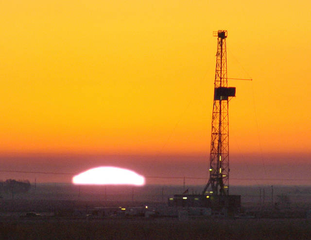 A drilling rig operates in Oklahoma's Panhandle in 2005. Industry observers say it remains attractive for some oil and gas companies in the state to drill and produce vertical wells. [The Oklahoman Archives]
